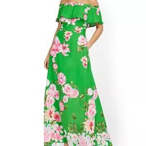 NWT NY&Company Green Floral Off Shoulder Dress